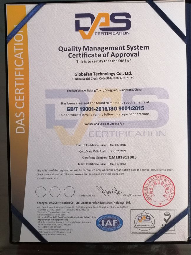 Globefan ISO certificate updated as version ISO9001: 2015
